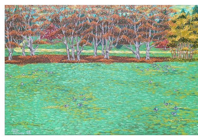 想念溫哥華的秋季  H:100cm x W:145cm  油畫