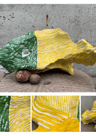花臉魚  H:30cm x W:60cm x D:50cm  木雕+彩繪