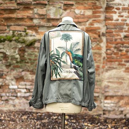 Veste kaki oiseau jungle vintage