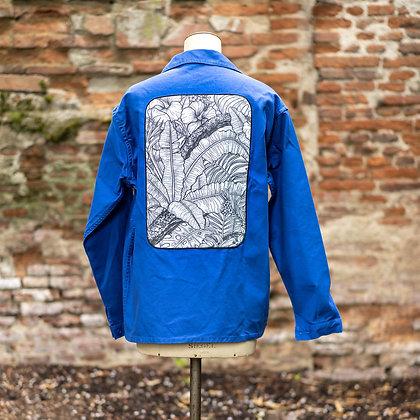 Veste bleu de travail imprimé jungle noir et blanc