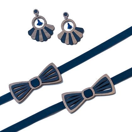 Coffret amoureux bleu noeud papillon et boucles d'oreilles en bois