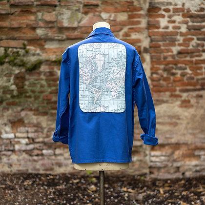 Veste bleu de travail imprimé carte du monde vintage