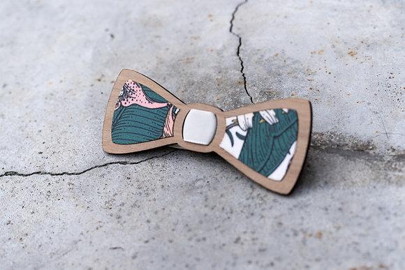 Noeud papillon brut en bois et tissu végétal
