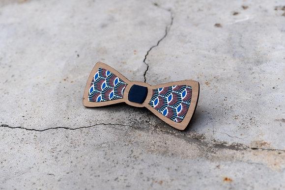 Noeud papillon brut en bois et tissu wax paon