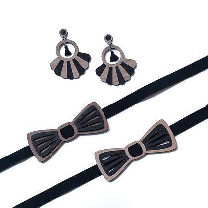 Coffret amoureux noir noeud papillon et boucles d'oreilles en bois