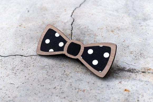 Noeud papillon brut en bois et tissu pois