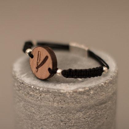 Bracelet en bois et macramé – motif coupe-choux