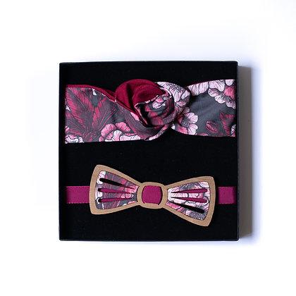 Coffret amoureux fleurs de cerisie noeud papillon, bandeau ou boucles d'oreilles