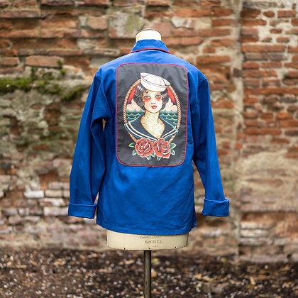 Veste bleu de travail imprimé femme old school