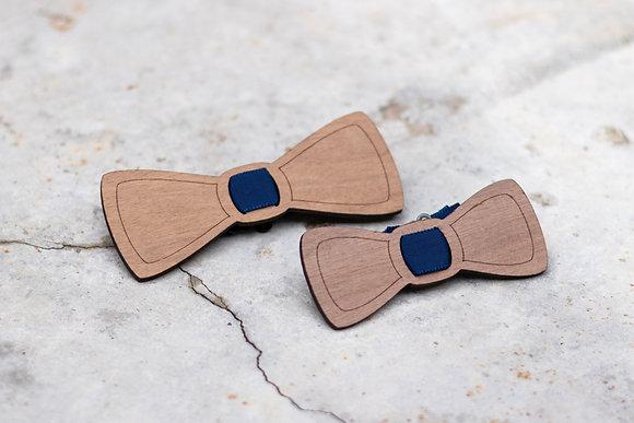 Duo père – enfant noeud papillon bois brut