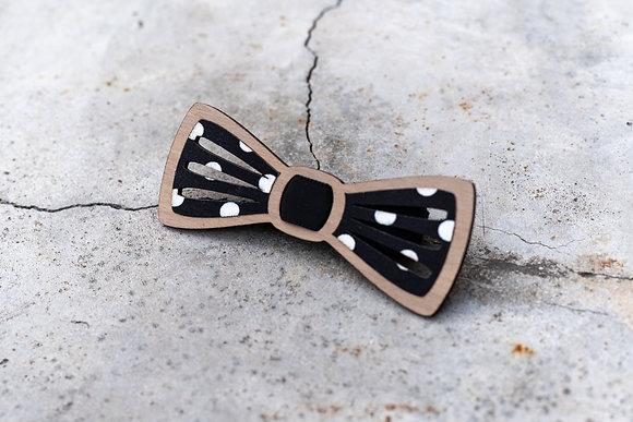 Noeud papillon oscar en bois et tissu pois