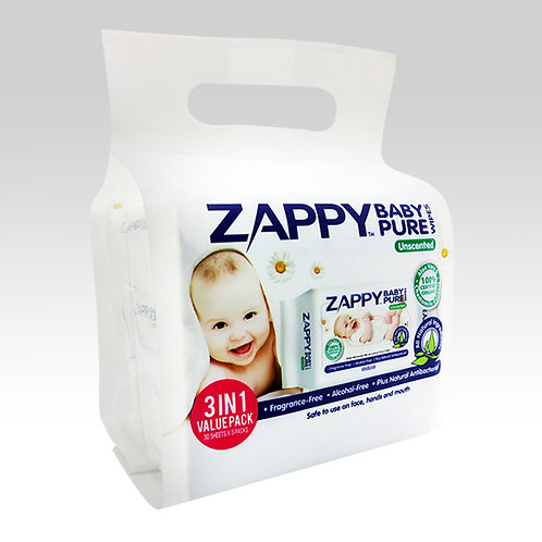 Zappy Baby Pure 30s Wipes Value Pack