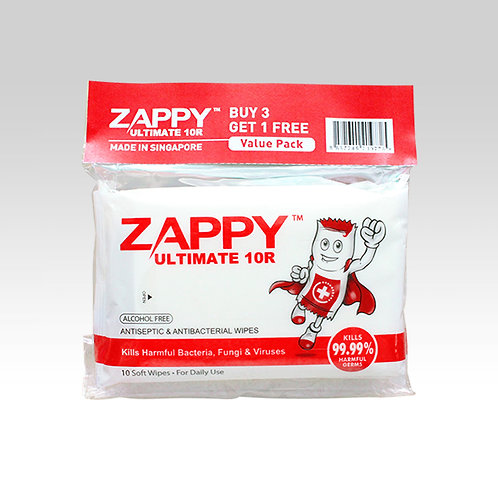 Zappy Ultimate Antiseptic 10R Wipes Value Pack