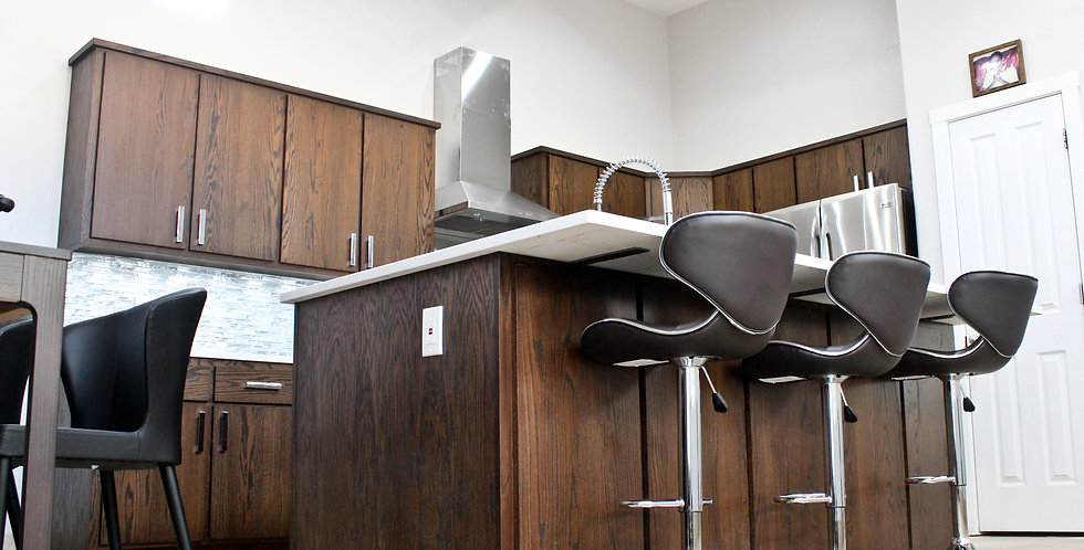 oak cabinets-espresso color