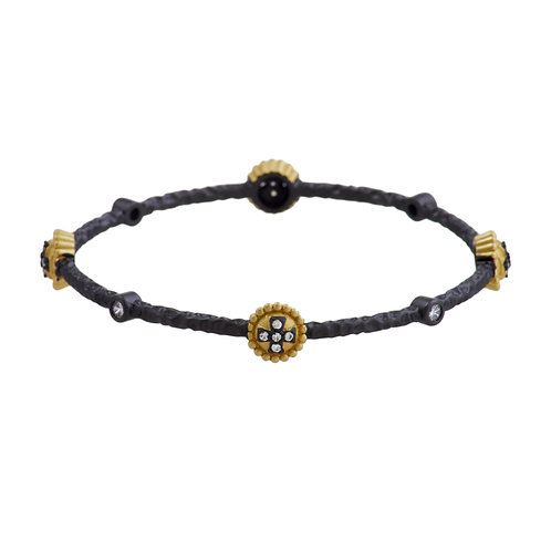 Pewter and Gold Cross Bangle