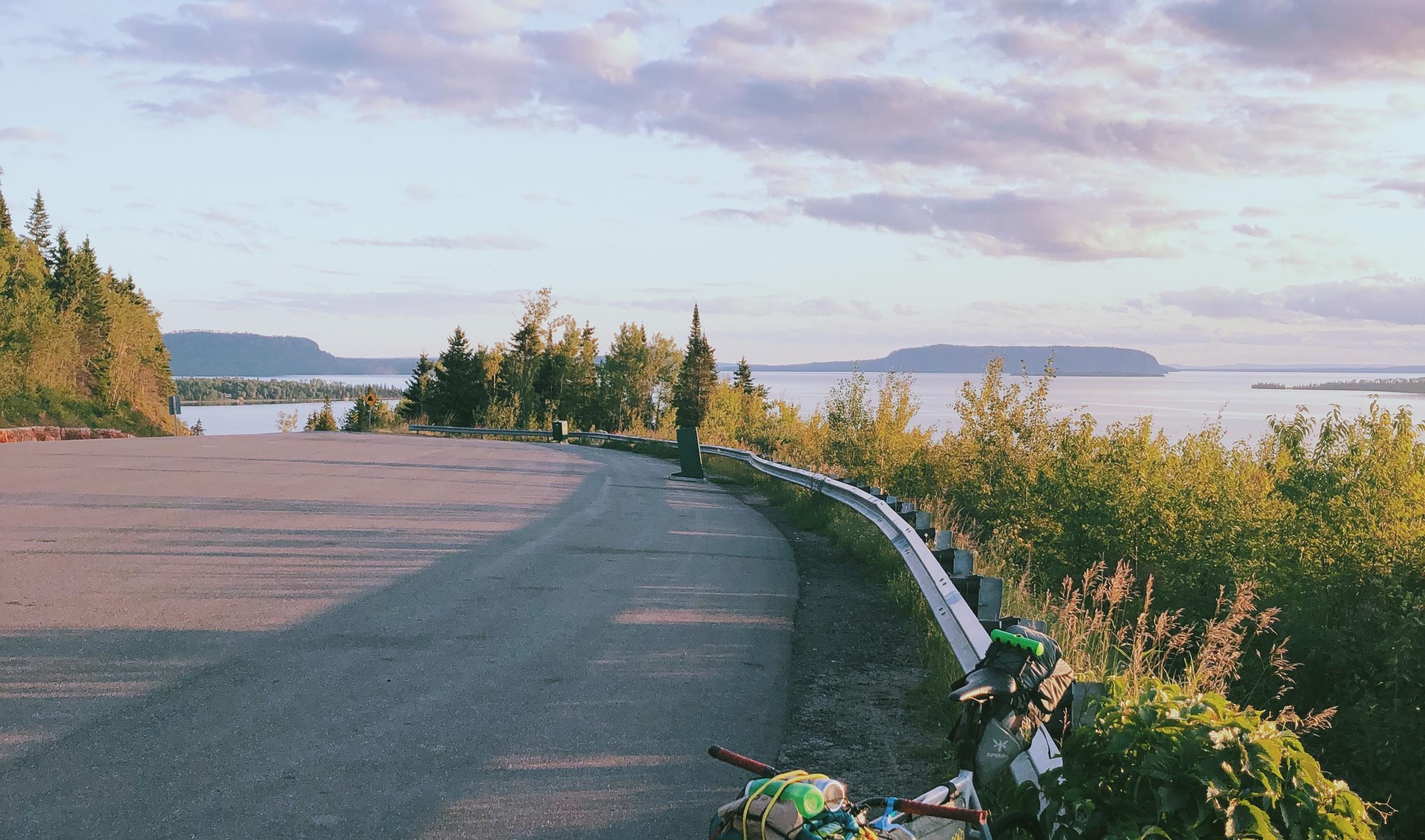bike on road in Manitoba