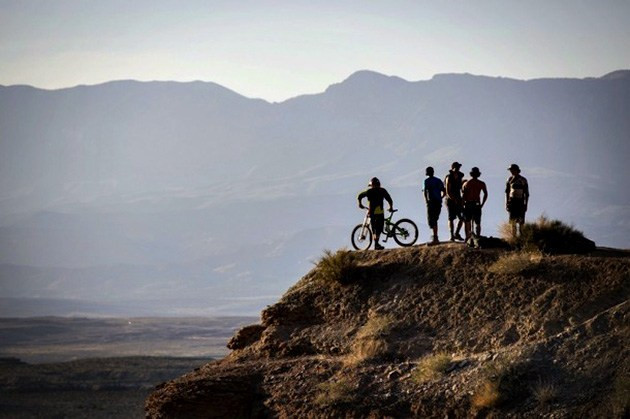 BikeMagazine.com - Mike Thompson inspects the course at Rampage 2012