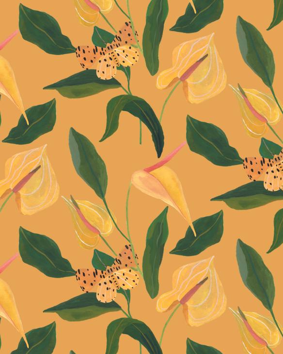 Pattern Antúrio & Mariposa - Amarelo