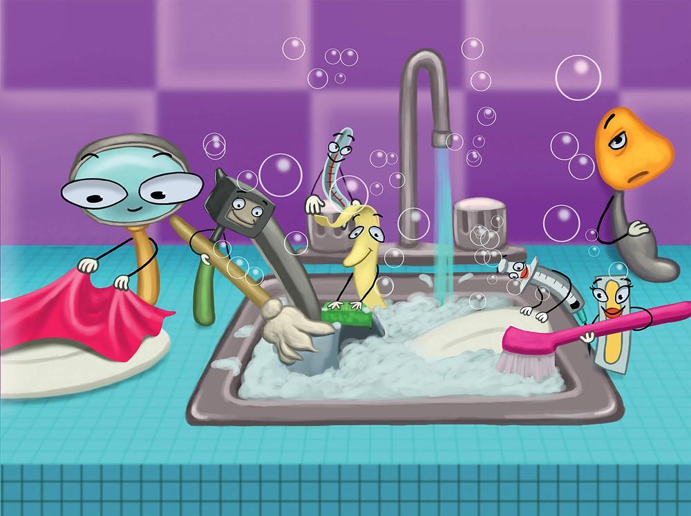 On se lave les mains avec du savon pour ne pas attraper la gastro-entérique