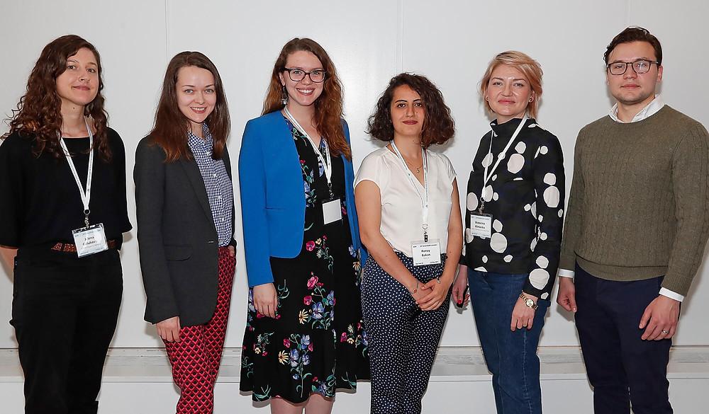 The winners of the ASN 2019 Doctoral Paper Awards: Jelena Golubovic, Irina Soboleva, Colleen Wood, Ronay Bakan, Ekaterina Klimova and Alexander Kustov. Missing: Daniel Solomon.