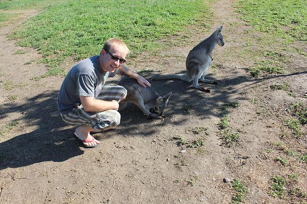 Me petting a Kangaroo