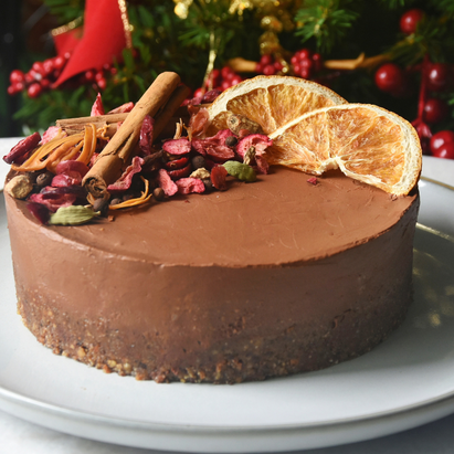 No Bake Vegan Orange Dark Chocolate Mousse Cake | Delia.v Life