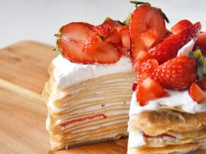 Vegan Strawberry Rose Mille Crêpe Cake | Delia.v Life