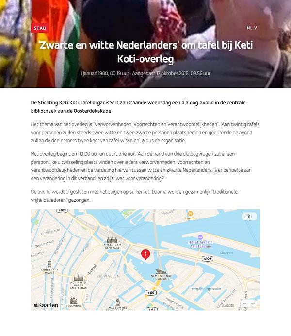'Zwarte en witte Nederlanders' om tafel bij Keti Koti-overleg