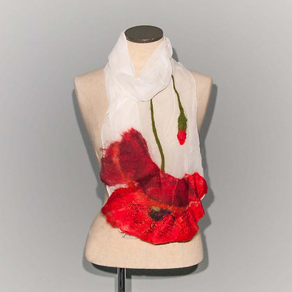 Foulard Coquelicot Red poppy on white chiffon