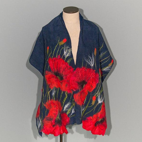 Felted scarf Red Poppy on Navy