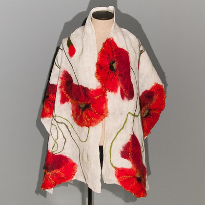 Felted scarf Red Poppy on white