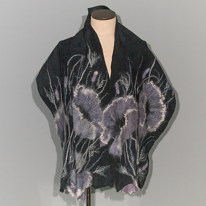 Felted scarf Monochromatic Poppy on black