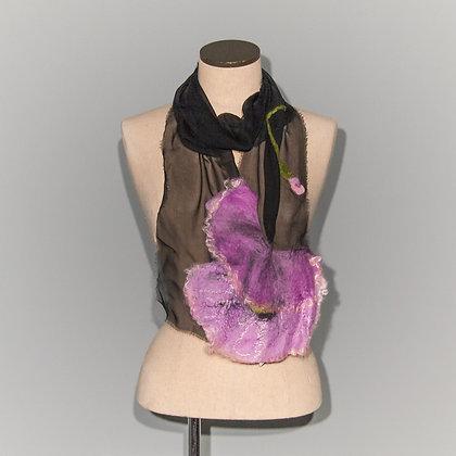 Foulard Coquelicot Purple poppy on Black chiffon