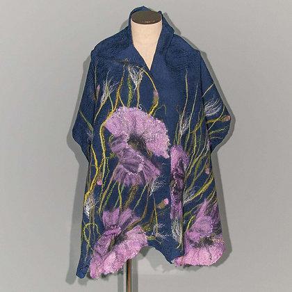 Felted scarf Purple Poppy on Navy