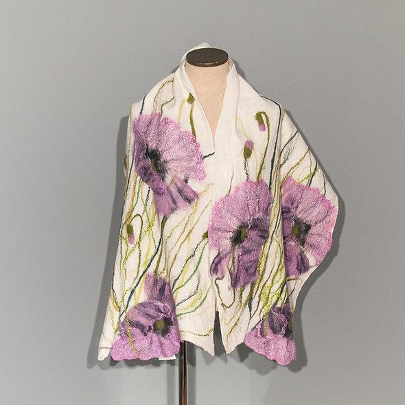 Felted scarf Purple Poppy on White