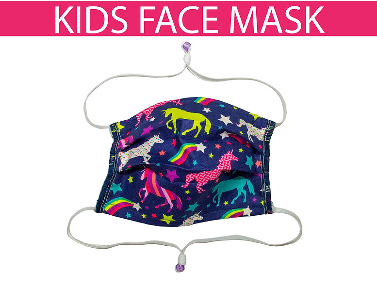 Over The Head Kids Face Mask, Toddler, Youth, and Teen. Adjustable Elastics.