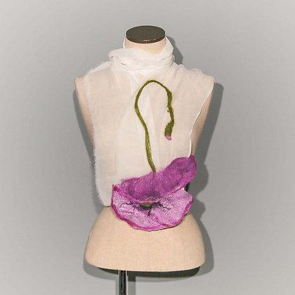 Foulard Coquelicot Purple poppy on white chiffon