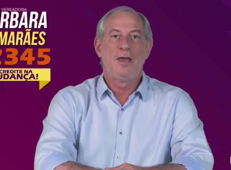 Ciro Gomes declara apoio à candidata a vereadora Bárbara Guimarães do PDT.