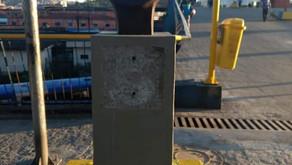 O busto do Cônego Belisário Elias de Souza é alvo de vandalismo em Mauá .