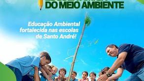Escolas Municipais de Santo André trabalharam com plantio de árvore com as crianças.