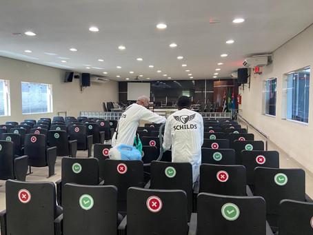 Câmara de Ribeirão Pires, realiza ação de sanitização a fim de conter a disseminação da covid
