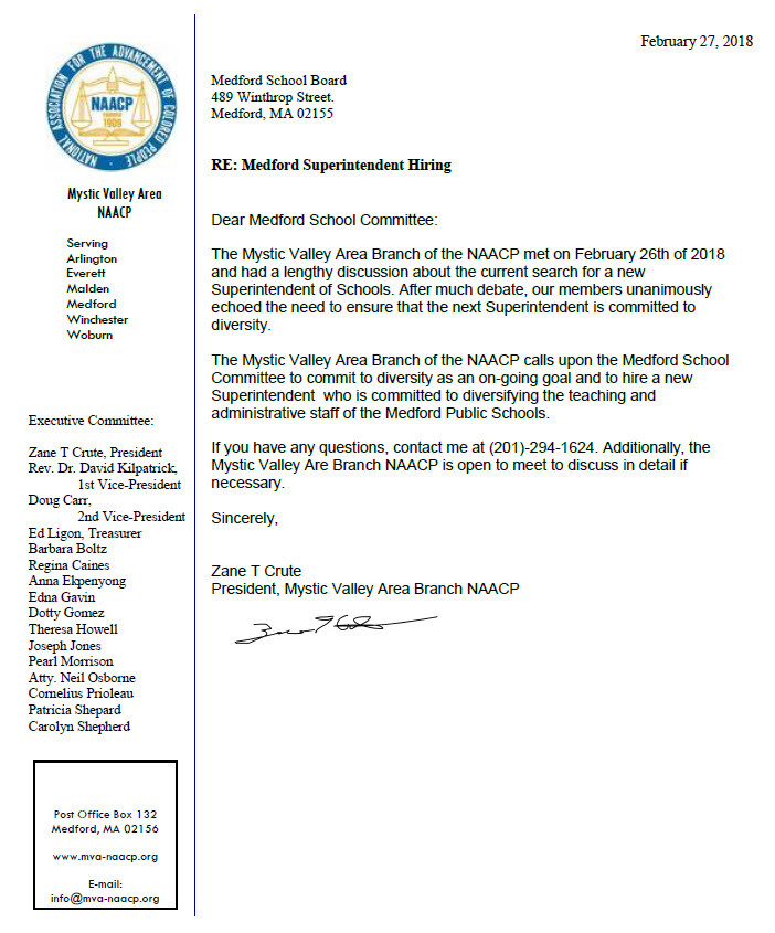 mva-naacp open letter to the medford school board that the new superintendent should be committed to diversity