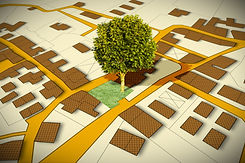 Cadastral map with a tree on a green are