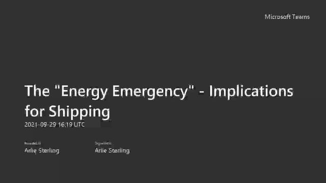 Implications of ongoing energy crisis on shipping