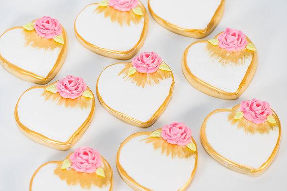 Heart with Rose Cookies - 1 dozen