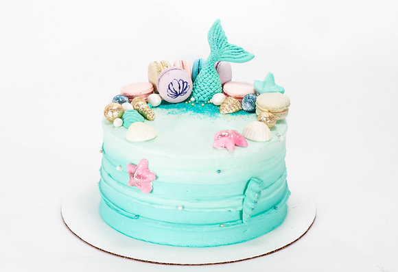 Under the Sea Cake with macarons- 6 inch round cake (feeds 8-10)