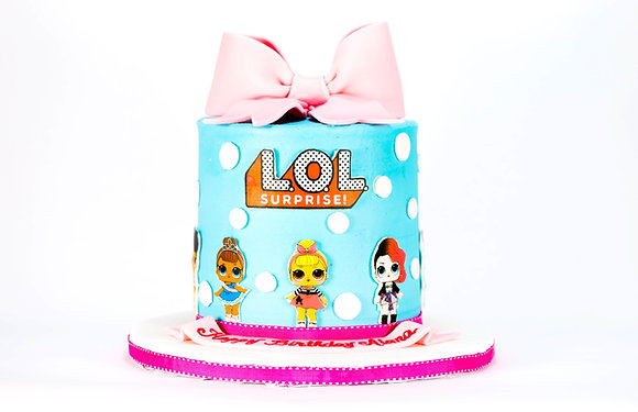 LOL Surprise Doll Cake - tall 6 inch round (feeds 12-15)