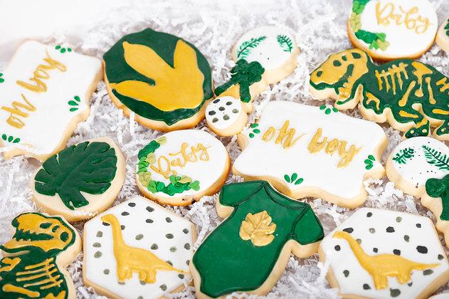 Dinosaur Themed Baby Shower Cookies - 1 Dozen