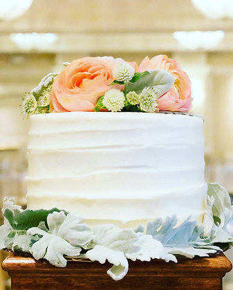 Single Tier Floral Cake - 6 inch round (feeds 8-10)