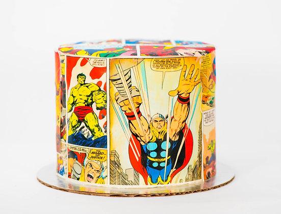 Marvel Comic Cake - 6 inch round (feeds 8-10)